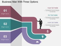 Business Man With Three Options Powerpoint Template
