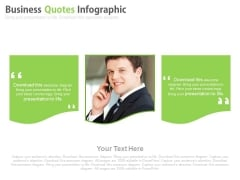 Business Man With Two Quotes Space Powerpoint Slides