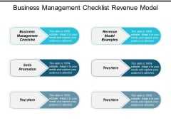 Business Management Checklist Revenue Model Examples Sells Promotion Ppt PowerPoint Presentation Graphics