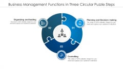 Business Management Functions In Three Circular Puzzle Steps Mockup PDF
