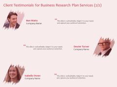 Business Management Research Client Testimonials For Business Plan Services Ppt Portfolio Example Introduction PDF