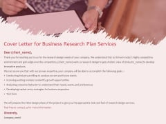 Business Management Research Cover Letter For Business Research Plan Services Ppt Gallery Background PDF