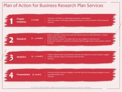 Business Management Research Plan Of Action For Business Research Plan Services Ppt Outline Design Inspiration PDF