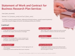 Business Management Research Statement Of Work And Contract For Business Research Plan Services Clipart PDF