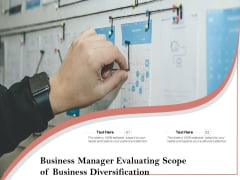 Business Manager Evaluating Scope Of Business Diversification Ppt PowerPoint Presentation Icon Portfolio PDF