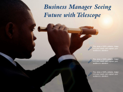 Business Manager Seeing Future With Telescope Ppt PowerPoint Presentation Outline Microsoft