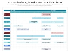 Business Marketing Calendar With Social Media Events Ppt PowerPoint Presentation Icon Styles PDF