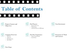 Business Marketing Video Making Table Of Contents Slides PDF