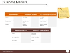 Business Markets Ppt PowerPoint Presentation Model