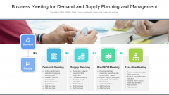Business Meeting For Demand And Supply Planning And Management Ppt Pictures Infographics PDF