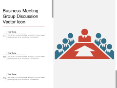 Business Meeting Group Discussion Vector Icon Ppt PowerPoint Presentation Portfolio Guide PDF