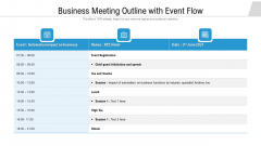 Business Meeting Outline With Event Flow Ppt PowerPoint Presentation Ideas Example PDF