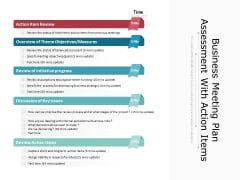 Business Meeting Plan Assessment With Action Items Ppt PowerPoint Presentation Icon Gallery PDF