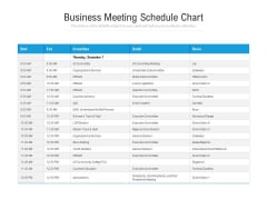 Business Meeting Schedule Chart Ppt PowerPoint Presentation File Master Slide PDF