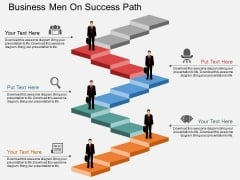 Business Men On Success Path Powerpoint Template