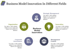 Business Model Innovation In Different Fields Ppt PowerPoint Presentation Infographics Shapes