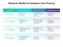 Business Model Of Customer Care Process Ppt PowerPoint Presentation Gallery Graphics PDF