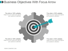 Business Objectives With Focus Arrow Ppt PowerPoint Presentation Graphics