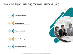 Business Operations Assessment Obtain The Right Financing For Your Business Loan Clipart PDF