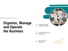 Business Operations Assessment Organize Manage And Operate The Business Ppt Model Skills PDF
