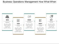 Business Operations Management How What When Ppt Powerpoint Presentation Show Graphics Tutorials