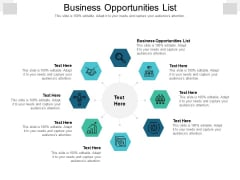 Business Opportunities List Ppt PowerPoint Presentation Gallery Slideshow Cpb Pdf