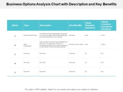 Business Options Analysis Chart With Description And Key Benefits Ppt PowerPoint Presentation Outline Elements