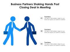 Business Partners Shaking Hands Post Closing Deal In Meeting Ppt PowerPoint Presentation Gallery Slide Portrait PDF