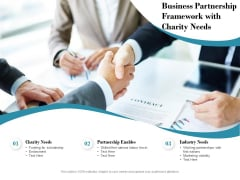 Business Partnership Framework With Charity Needs Ppt PowerPoint Presentation Slides Templates PDF