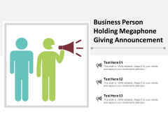 Business Person Holding Megaphone Giving Announcement Ppt PowerPoint Presentation Infographics Sample