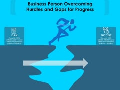 Business Person Overcoming Hurdles And Gaps For Progress Ppt PowerPoint Presentation Gallery Graphics Pictures PDF