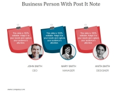 Business Person With Post It Note Ppt PowerPoint Presentation Professional