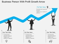 Business Person With Profit Growth Arrow Powerpoint Template