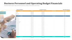 Business Personnel And Operating Budget Financials Template PDF
