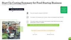 Business Plan For Fast Food Restaurant Start Up Costing Summary For Food Startup Business Formats PDF