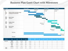 Business Plan Gantt Chart With Milestones Ppt PowerPoint Presentation Gallery Samples PDF