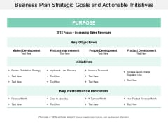 Business Plan Strategic Goals And Actionable Initiatives Ppt Powerpoint Presentation Professional Picture