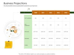 Business Planning And Strategy Playbook Business Projections Ppt Professional Graphics Pictures PDF