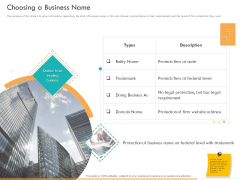 Business Planning And Strategy Playbook Choosing A Business Name Ppt PowerPoint Presentation Infographics Slideshow PDF