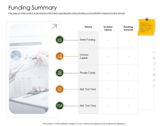 Business Planning And Strategy Playbook Funding Summary Portrait PDF