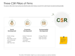 Business Planning And Strategy Playbook Three CSR Pillars Of Firms Structure PDF