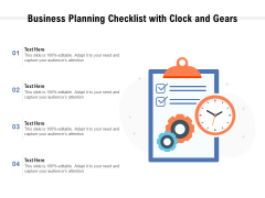 Business Planning Checklist With Clock And Gears Ppt PowerPoint Presentation Styles Demonstration PDF