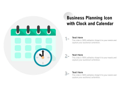Business Planning Icon With Clock And Calendar Ppt PowerPoint Presentation Gallery Elements PDF