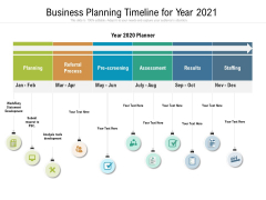 Business Planning Timeline For Year 2021 Ppt PowerPoint Presentation Ideas Objects PDF