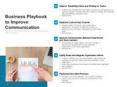 Business Playbook To Improve Communication Ppt PowerPoint Presentation Gallery Portrait PDF