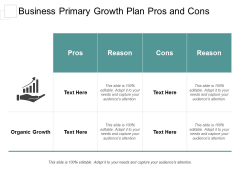 Business Primary Growth Plan Pros And Con Ppt Powerpoint Presentation Portfolio Graphics Template