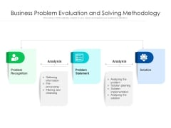 Business Problem Evaluation And Solving Methodology Ppt PowerPoint Presentation Outline Graphic Tips PDF
