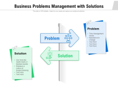 Business Problems Management With Solutions Ppt PowerPoint Presentation Gallery Layout PDF