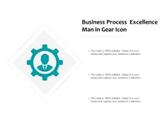 Business Process Excellence Man In Gear Icon Ppt PowerPoint Presentation Ideas Elements