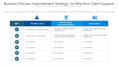 Business Process Improvement Strategy For Effective Client Support Ppt Styles Portfolio PDF